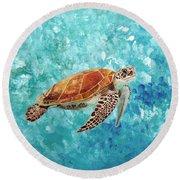 Turtle Swimming Round Beach Towel