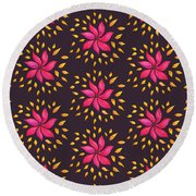 Abstract Whimsical Watercolor Pink Flower Round Beach Towel