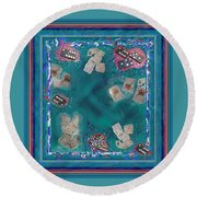 Surreal Lake Art And Poem Round Beach Towel