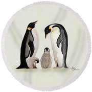 Penguin Family Watercolor Round Beach Towel