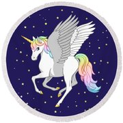 Pretty Rainbow Unicorn Flying Horse Round Beach Towel