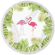 Round Beach Towel featuring the painting Magical Tropicana Love Flamingos And Leaves by Georgeta Blanaru