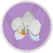 Round Beach Towel featuring the digital art Orchid On Lilac by Elizabeth Lock