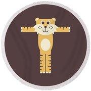 Letter T - Animal Alphabet - Tiger Monogram Round Beach Towel