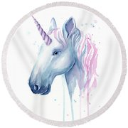 Cotton Candy Unicorn Round Beach Towel