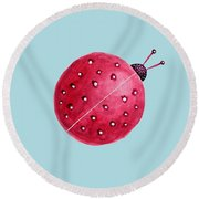 Beautiful Abstract Watercolor Ladybug Round Beach Towel