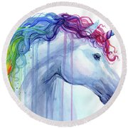 Rainbow Unicorn Watercolor Round Beach Towel
