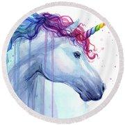 Rainbow Unicorn Watercolor Round Beach Towel