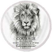 Lion Courage Motivational Quote Watercolor Animal Round Beach Towel