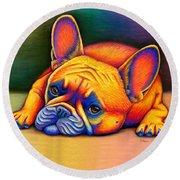Colorful French Bulldog Round Beach Towel
