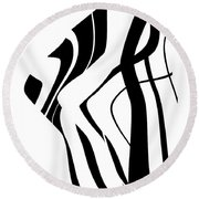 Organic No 4 Black And White Round Beach Towel