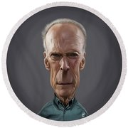 Celebrity Sunday - Clint Eastwood Round Beach Towel