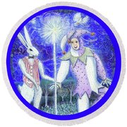 Wand With Magician And Jester Round Beach Towel