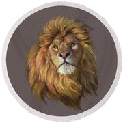 African Lion Round Beach Towel