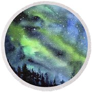 Galaxy Watercolor Nebula Northern Lights Round Beach Towel