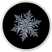Round Beach Towel featuring the photograph Real Snowflake - Silverware Black by Alexey Kljatov