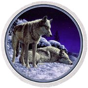 Wolf Painting - Night Watch Round Beach Towel by Crista Forest