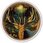 Elk Painting - Autumn Majesty Round Beach Towel
