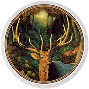Elk Painting - Autumn Majesty Round Beach Towel