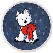 Kiniart Westie In Red Bow Round Beach Towel