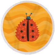 Orange Ladybug Masked As Autumn Leaf Round Beach Towel