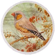 Zebra Finch Among Almond Trees Round Beach Towel