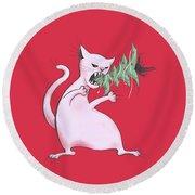 Funny White Cat Eats Christmas Tree Round Beach Towel