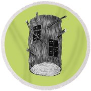 Tree Log With Mysterious Forest Creatures Round Beach Towel