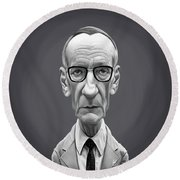 Round Beach Towel featuring the digital art Celebrity Sunday - William Burroughs by Rob Snow