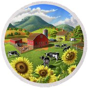 Sunflowers And Cows Farm Landscape Painting - 1950s Appalachian Painting - Rural Americana Folk Art Round Beach Towel