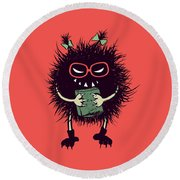 Geek Evil Bug Character Loves Reading Round Beach Towel