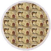 Young Coyote And Cactus Round Beach Towel