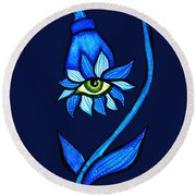 Weird Blue Staring Creepy Eye Flower Round Beach Towel