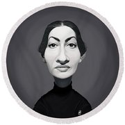 Round Beach Towel featuring the digital art Celebrity Sunday - Maria Callas by Rob Snow