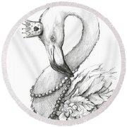 Flamingo In Pearl Necklace Round Beach Towel