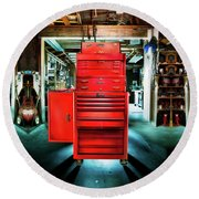 Mechanics Toolbox Cabinet Stack In Garage Shop Round Beach Towel