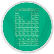 Periodic Table Of Burger Elements - Green Round Beach Towel