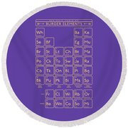 Periodic Table Of Burger Elements - Purple Round Beach Towel