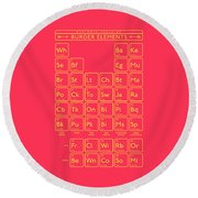 Periodic Table Of Burger Elements - Red Round Beach Towel