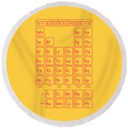 Periodic Table Of Burger Elements - Yellow Round Beach Towel
