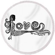 Mermaid Love Round Beach Towel