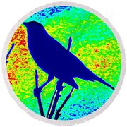 Bird On A Branch Round Beach Towel