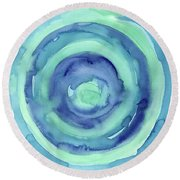 Abstract Watercolor Aqua Blues Round Beach Towel