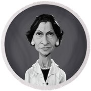 Round Beach Towel featuring the digital art Celebrity Sunday - Coco Chanel by Rob Snow