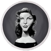 Round Beach Towel featuring the digital art Celebrity Sunday - Lauren Bacall by Rob Snow