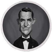 Round Beach Towel featuring the digital art Celebrity Sunday - Cary Grant by Rob Snow