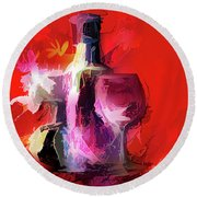 Fun Colorful Modern Wine Art   Round Beach Towel