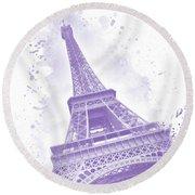 Round Beach Towel featuring the digital art Watercolor Eiffel Tower - Purple by Melanie Viola
