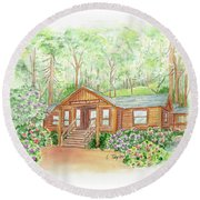 Office In The Park Round Beach Towel