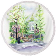 Across The Plaza Round Beach Towel